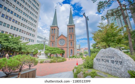 Daegu, Korea: August 28,2018: Daegu Gyesan Catholic Church.Built by Priest Robert, A.P. (1853-1922), who came to Daegu for missionary work.