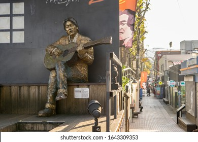Daegu, Korea - nov 16, 2019 : Kim Kwang-Seok Memorial Street. It is a street  to commemorate the singer Kim Kwang Suk. It is now a tourist attraction in Daegu.