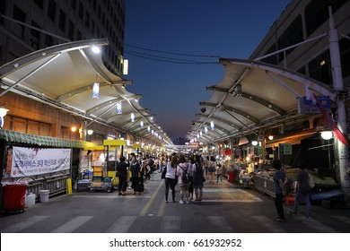 Daegu Seomun market, South Korea, May 19, 2017: The seomun market is a big market in Daegu city, and especially the night market is a sight spot for many people. There are many things to eat.