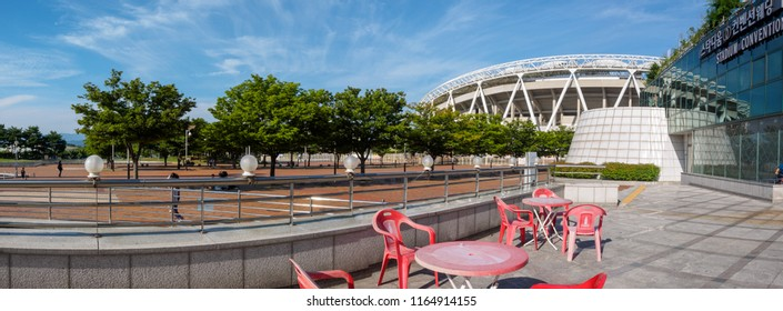 Daegu, South Korea - Aug 19, 2018 : Daegu Stadium, formerly named Daegu World Cup Stadium at summer season