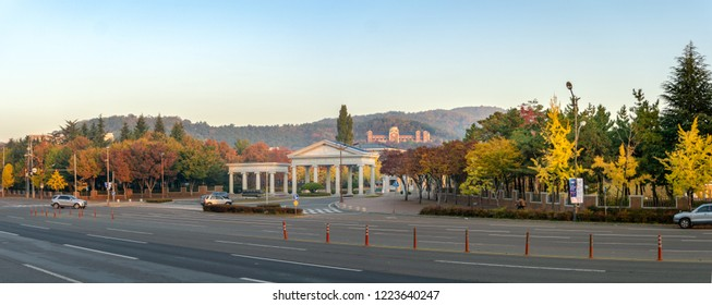 DAEGU, SOUTH KOREA - NOVEMBER 3, 2018: Entrance of the Seongseo Campus of Keimyung University and Edward Adams Hall of Worship and Praise (Adams Chapel) Located high on the flank of Kungsan Hill.