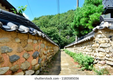 DAEGU, SOUTH KOREA - September 04, 2018 : Beautiful street with earthen walls and stone walls inside Daegu Otgol Village and this place is one of the famous tourist destination in Daegu, South Korea.
