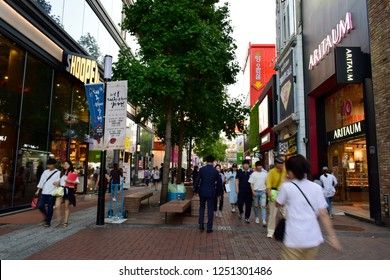 DAEGU, SOUTH KOREA - SEPTEMBER 04, 2018: Many street shop in Dongseongno shopping district market, this place is a major fashion district and one of the most popular streets in Daegu, South Korea.