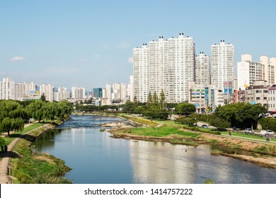 Daegu, South Korea - September 22, 2018 : View of downtown cityscape and Sincheon river (stream), Daegu, Korea. Daegu is large manufacturing industry city. Samsung and Kolon were founded in here.