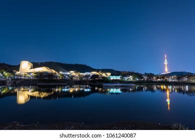 Daegu tower during the spring season this area is popular sakura spot at City Daegu in South Korea
