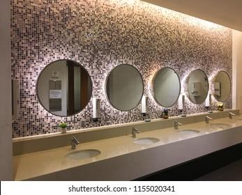 Daegu/Republic of Korea - May 29, 2018 : Interior Design of public restroom in Lotte Outlet Yulha Store, Daegu, Korea.