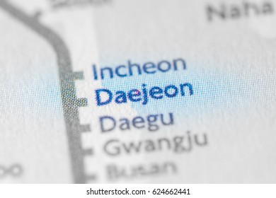 Daejeon, South Korea on a geographical map.