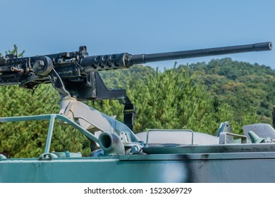 Daejeon, South Korea; September 29, 2019: 50-caliber M2 Browning machine gun mounted on top of M113 armored personnel carrier.