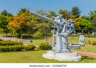 Daejeon, South Korea; September 29, 2019: Three-inch fifty-caliber MK 26 navel gun on display in public park at National Cemetery.