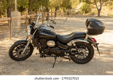 Daelim Daystar motorcycle parked in a rural area, next to the Guadalcacin reservoir in the province of Cadiz, Andalusia, Spain August 11, 2020