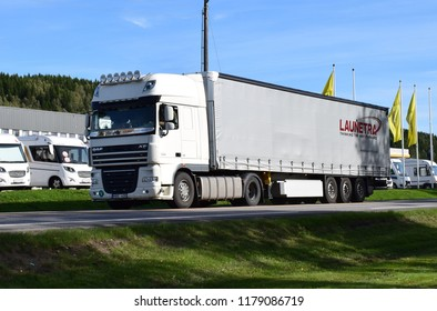 DAF FX truck on the road - Launetra sign - Kongsvinger, Norway (14th September 2018)