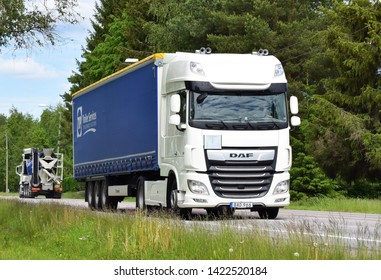 DAF truck vehicle on the highway in sunny and summer season - Kongsvinger, Norway (6th june 2019)