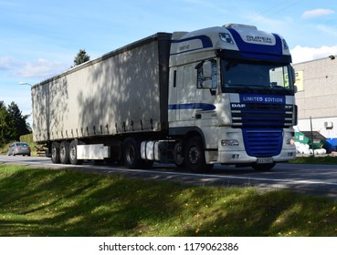 DAF XF truck on the road - super space cab - Kongsvinger, Norway (14th September 2018)