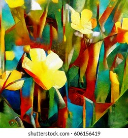 Daffodils. Abstract floral composition in a cubist style. Executed in oil on canvas with elements of pastel painting. For interior and gift.
