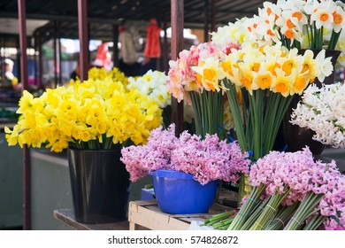 Daffodils and hyacinths in the market. Belgrade, Serbia