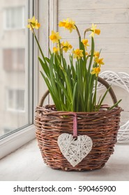 Daffodils in rural  basket and a decorative heart on the window