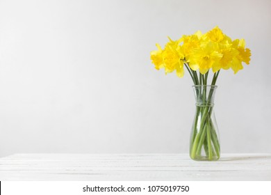 Daffodils in a vase on a white background. Drawing of yellow flowers on a white background. Composition of flowers. Top view, space for copy, square, flat lay.