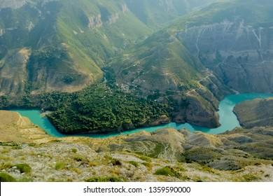 Dagestan canyon in mountains Dubki