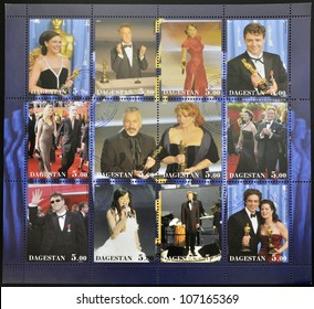 DAGESTAN - CIRCA 2001: A stamp printed in Dagestan shows collection of stamps with actors, actresses and singers nominated for oscar, circa 2001