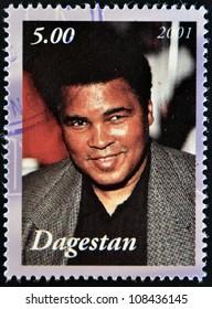 DAGESTAN - CIRCA 2001: A stamp printed in Republic of Dagestan shows Muhammad Ali, circa 2001