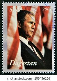 DAGESTAN - CIRCA 2001: A stamp printed in Republic of Dagestan shows George Bush, circa 2001