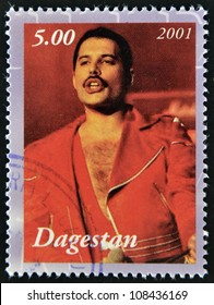 DAGESTAN - CIRCA 2001: A stamp printed in Republic of Dagestan shows Freddie Mercury leader the Queen, 1980s famous musical pop group, circa 2001