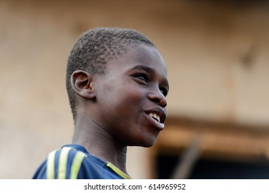 DAGOMBA VILLAGE, GHANA - JAN 14, 2017: Unidentified Dagomban boy looks ahead in the local village. Dagombas are ethnic group of Northern Ghana