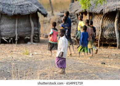 DAGOMBA VILLAGE, GHANA - JAN 14, 2017: Unidentified Dagomban children play in the local village. Dagombas are ethnic group of Northern Ghana
