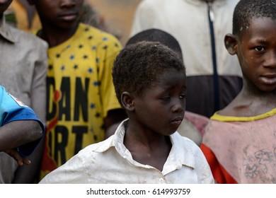 DAGOMBA VILLAGE, GHANA - JAN 14, 2017: Unidentified Dagomban boy looks ahead in the local village. Dagombas are ethnic group of Northern Ghana