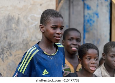 DAGOMBA VILLAGE, GHANA - JAN 14, 2017: Unidentified Dagomban boys in the local village. Dagombas are ethnic group of Northern Ghana