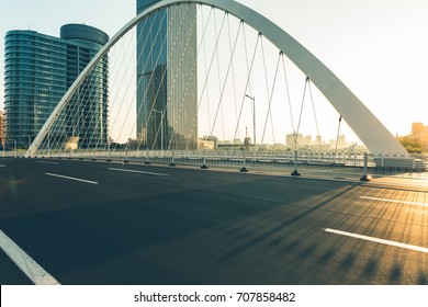Dagu bridge with tianjin city skyline scenery,China.