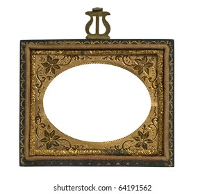 daguerreotype antique picture frame on a white background