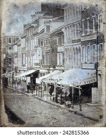 Daguerreotype of the north side of Chestnut Street, between 2nd Street and 3rd Street, Philadelphia, Pennsylvania 1843