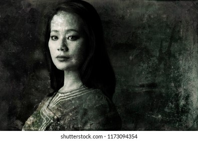 Daguerreotype styled portrait of a young Asian woman wearing a traditional Burmese dress.