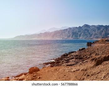 Dahab City coastline in South Sinai - Egypt
