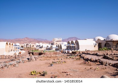 DAHAB, EGYPT - July10, 2019: View of the beach in Dahab, Egypt