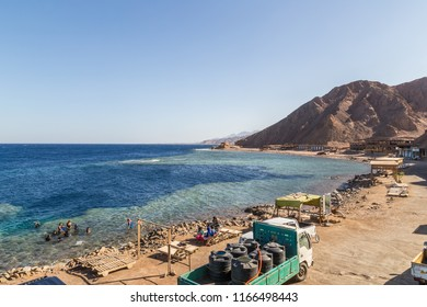 DAHAB, EGYPT - JUNE 22, 2014: Blue Hole is a popular diving location on east Sinai, a few kilometres north of Dahab, Egypt on the coast of the Red Sea.