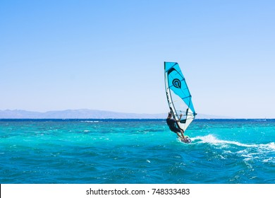 Dahab, Egypt - NOVEMBER 1, 2017:  Unidentified windsurfers in Baby bay spot, documentary editorial.