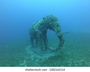 Dahab, Egypt -  September 30, 2018: Underwater statue of an elephant in the Red Sea off Dahab, Egypt