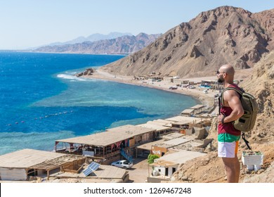Dahab/Egypt - 10-15-2018: Blue Hole is a popular diving location on east Sinai, a few kilometres north of Dahab, Egypt on the coast of the Red Sea.