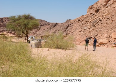 Dahab/Egypt - 10/15/2018: Colored canyon in Nuweiba Dahab Egypt . Coloured Canyon is a rock formation on Sinai peninsula. It is a labyrinth of rocks, some of them have about 40 meters.