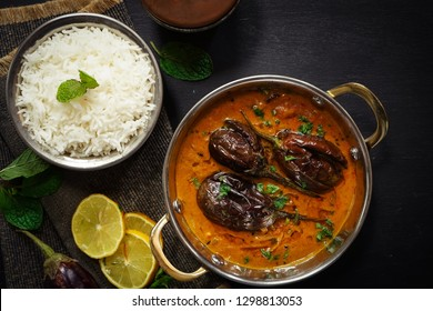 Dahi Baingan / Eggplant Yogurt curry served with rice - Popular Odia dish fromIndia