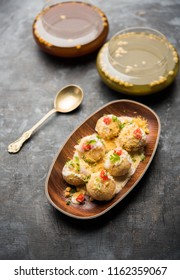 Dahi Puri chat is an indian road side snack item which is especially popular in the state of Maharashtra, India