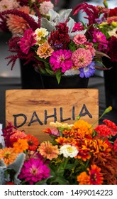 "dahlia bouquets in bucket at farmers market with wooden sign ""DAHLIA"", flower market dahlias, late summer locally grown flowers, red, orange, yellow, pink, wedding florals, bridal bouquet"