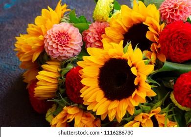 Dahlia and sunflowers