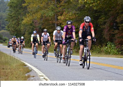DAHLONEGA, GA/USA - SEPTEMBER 30: Unidentified men riding in a line at the Three and Six Gap Century ride, September 30, 2012 in Dahlonega GA.