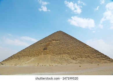 "DAHSHUR, EGYPT - MAY 31:Red pyramid of King Sneferu at Dahshur it is also believed to be the world's first successful attempt at constructing a ""true"" smooth-sided pyramid.Cairo, Egypt. May 31, 2011."