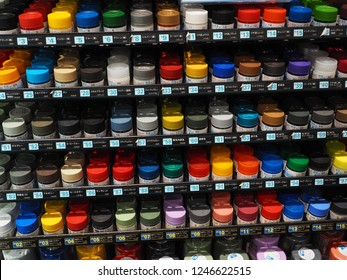 Daiba,Tokyo,Japan - November 13 2018 : Many color bottles on shelf for paint  Gunpla, Japanese robot model figures.