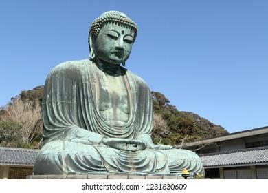 Daibutsu, Great Buddha statue at Kotoku-in temple, Kamakura, Kanagawa Prefecture, Japan