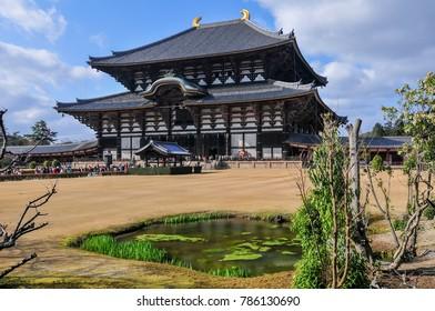 The Daibutsu-den at the Todai-ji temple in Nara, Japan.